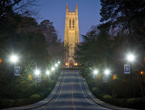 Duke Chapel on Chapel Drive at night