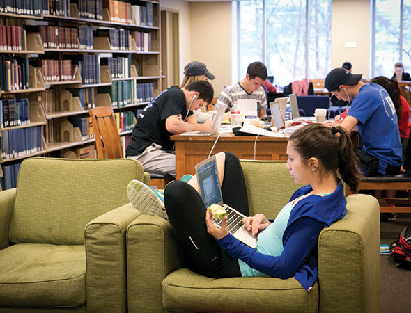Students study in a library